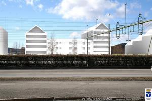 Det här är en vision som Sweco Arcitects presenterade i våras hur Storsjö Strand skulle kunna se ut sett från Brunnsgränd.