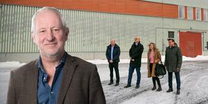 Hans Lindeberg och Hangar 90 på Frösö Park där Synsams nya fabrik ska husera. Fotomontage: Johan Axelsson/Petter Hansson Frank