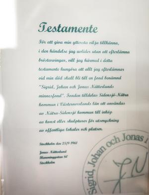 Jonas Nätterlunds testamente.