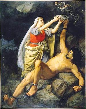 Lokes goda och trogna maka Sigyn försöker skydda honom från gudarnas straff genom att fånga upp ormens eter i ett fat. Målning av Mårten Eskil Winge från 1863.