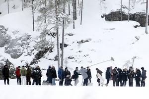 Ute på Singsjöns is spelades en av filmen The Americans öppningsscener in i januari 2010. George Clooney syns i brun jacka och svart mössa i mitten på bilden.