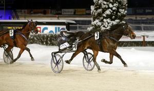 Nakoda Goj med Nicklas Westerholm vann V75-omgångens första lopp. Westerholm vann ytterligare ett på Romme med It's Showtime Zaz. Foto: Micke Gustafsson/Foto-Mike