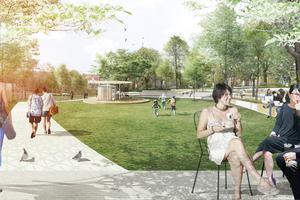 Allmänna platser där folk kan samlas, som parker, är viktigt i planeringen av Norra stadskärnan. Här ses parken vid Campus Telge.Skiss: Nivå landskapsarkitektur