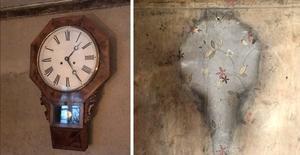 Nu och då. Den ursprungliga klockan återfördes till torpet efter 60 år, tack vare Fridas brors barnbarn. Det syns att det eldades med ved i köket.