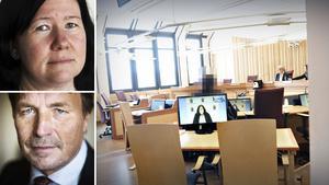 Den misstänkte mannen såg trött och medtagen ut under fredagens häktningsförhandling. Också på bilden: Kammaråklagare Stina Sjöqvist och mannens advokat Thomas Bodström.