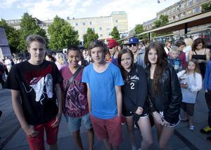 Simon Karlberg, Martin Suasa Larsson, Viktor Vagfalvi, Edit Eriksson och Alexandra Lundberg brukar gå på Sommarkväll för att träffa kompisar.