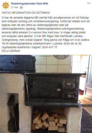 Räddningstjänsten Dala Mitt gick på onsdagsmorgonen själva ut med en varning på sin Facebook-sida.
