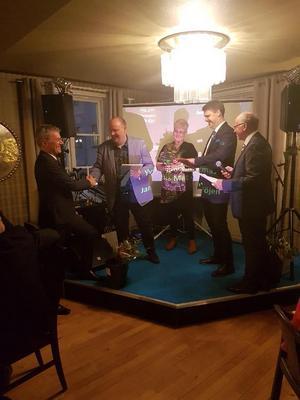 Företagare i Säter prisades och firade tillsammans under den årliga företagarfesten i helgen.Foto: Emil Jansson