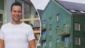 Nu står Sveriges första bostadshus som är plusenergihus färdiga vid Öster Mälarstrand. De första hyresgästerna har börjat att flytta in i husen, och Patrik Vikström är en av dem.