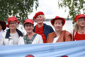 Tantpatrullen med banderollen på Bräcke marknad. I röd basker i mitten på bilden står Birgitta Sevefjord som är ordförande för Tantpatrullen. Hon har rest hit med fyra medlemmar för att protestera mot pensionssystemet.