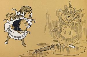 Dorothy möter den onda häxan Västan. W. W. Denslows illustration i den första upplagan av