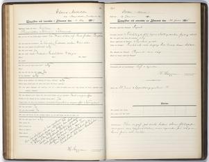 Uppslaget med räddningshemmets anteckningar om Elvira. Foto: Stockholmskällan