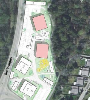 Plankartan visar var de nya husen ska ligga, intill Önstavägen. Husen i rosa blir de två första som byggs.
