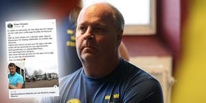 Robert Ericsson minns sin vän Kjäll Gustafsson, som på lördagen dödades under ett restaurangbesök. Bilden är ett montage.