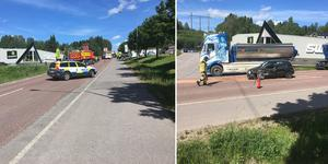 Två bilar har krockat på Norra vägen.