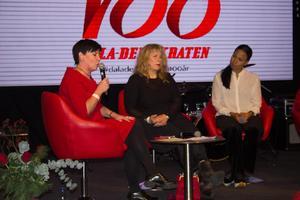 Cilla Rohdin, chef för ABF Borlänge-Nedansiljan, Stina Wollter, konstnär och Alice Bah Kuhnke, kultur- och demokratiminister, diskuterade hur hot och hat på nätet påverkar det offentliga samtalet.