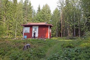 Torpet ligger i en skogsdunge i Uggelviken utanför Falun.