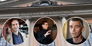 Vem ska ta över rollen som ständig sekreterare i Svenska Akademien, endast tre ledamöter är möjliga efterträdare; Mats Malm, Tomas Riad och Eric M Runesson. (Bilden är ett montage)