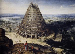 I Första Mosebok bygger människorna i högmod Babels torn som ska nå ända upp till himlen. Gud straffar dem med språkförbistringen så att inte förstår varandra längre och sprider dem över världen. Målning av Lucas van Valckenborch från 1594.