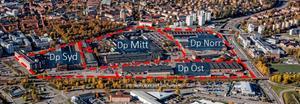 Översikt över Kopparlunden och de fyra delarna.  Bild: Västerås stad