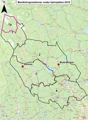 Jaktområdena och besiktningsstationerna i Dalarna. Karta: Länsstyrelsen Dalarna.