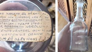 Under glaskaraffen finns en text om karaffens historia. Foto: privat