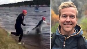 Daniel Bergnest var en av de tre simmarna som simmade vid Vasaloppsstarten i Sälen. Filmen med simturen har setts av drygt 30 000 människor.