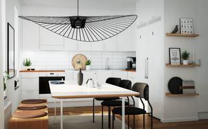 En exempelbild på hur ett kök i en av lägenheterna i Södertäljeporten kan komma att se ut. Illustration: Telge bostäder