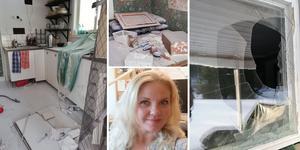 Camilla Sundströms stuga  är helt nersprayad med pulver från en pulversläckare. Allt måste saneras.