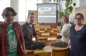 Jonas Johansson, Jonas Gustafsson, Jenny Back och Marie Olsson hoppas att den nya kortfilmen Ruggugglan ska locka fler yngre att se miljöbudskapet.