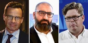 Moderaternas partiledare Ulf Kristersson, Mullsjös skolchef Hamid Zafar och Moderaternas partisekreterare Gunnar Strömmer.