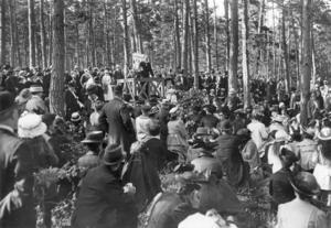 17 juni 1916 höll Föreningen för kvinnans politiska rösträtt (F.K.P.R.) möte i Långbergparken i Strängnäs,  med borgmästare J. Pettersson som håller tal i talarstolen. Foto: TT