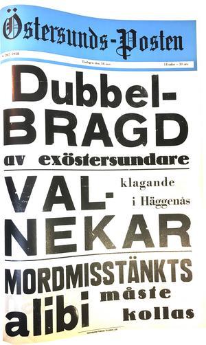 Östersunds-Postens löpsedel 18 november 1958.