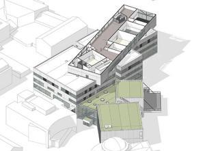 Våning 6. Teknikutrymmen. Delar av det här planet har ingen golvyta eftersom de större salarna på våning 5 har dubbel takhöjd. Illustration: Wingårdh arkitektbyrå.