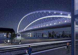 Gnistrande bågar, så beskrivs den planerade gång- och cykelbron vid tågstationen i Östersund.Illustration: Ramböll