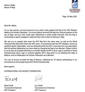 Brevet från IIHF, internationella hockeyförbundet.