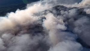 Drönarbild från skogsbranden i Pålgård. Foto: Emil Dahlgren