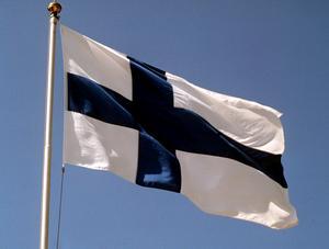 Den finska flaggan. Bild Scanpix