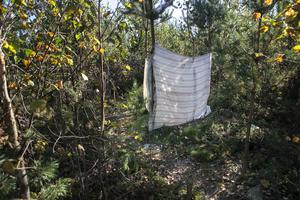 Rester av vad som ser ut att ha använts som dusch i ett av de lämnade lägren i skogarna utanför Tönnebro.