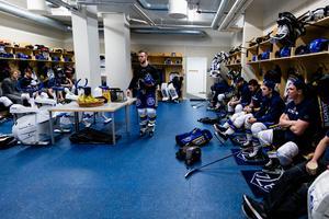 Leksands omklädningsrum innan matchen mot Växjö. Efteråt var det stängt. Foto: Jonas Ljungdahl/Bildbyrån