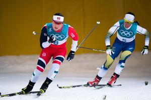Marit Björgen var den enda norskan som kunde vara med och slåss om en medalj i skiathlon. Bild: Carl Sandin/Bildbyrån