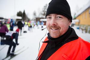 Kontrollchef i Evertsberg Glenn Broberg övervakade åkarna. Allt gick lugnt och fint.