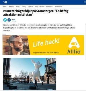 Rådjuret är tänkt att bli en mäktig symbol för Västerås och hela Västmanland. Inne i djurets ännu tomma mage ska det i framtiden finnas utställningslokaler, skriver VLT på sin hemsida.