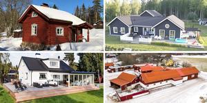 Ett montage med några av de hus som finns med på Klicktoppen för vecka 12, sett till de hus i Dalarna som fått flest klick på bostadssajten Hemnet under förra veckan.