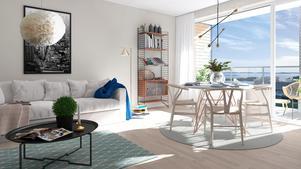 Två rum och kök med storslagen utsikt. Illustration Scheiwiller Svensson Arkitektkontor.