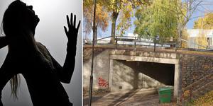 Den unga kvinnan anmäler att det var under den här tunneln som hon överfölls och misshandlades av två män i hennes egen ålder. Skuggbilden har inget med artikeln att göra. Bild: TT/Roger Wallenius