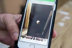 Husägaren visar en bild på hålet i dörren.