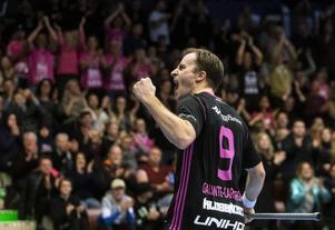 IBF Faluns Alexander Galante-Carlström gjorde ett av målen i cupfinalen mot SV Wiler-Ersigen. Foto: TT.