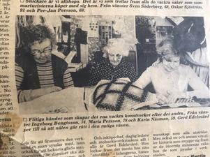 Ingeborg Bengtsson, Maria Persson och Karin Näsman och arbetar med textil i terapin.