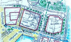 Föreningen Vårda Södertäljes förslag att förändra Ekdalsgatans dragning och flytta det tilltänkta hotellet skulle rädda Marens vattenspegel. Illustration: Föreningen Vårda Södertälje